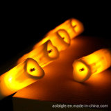 Schwarzes Gelb-flackernde Flamme-weiße niedrige Plastikkerzen des Ölerfilz-LED