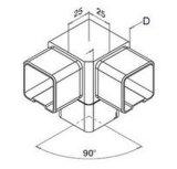 Het Deel van het T-stuk voor het Vierkante Systeem van het Traliewerk, van de Balustrade en van de Leuning