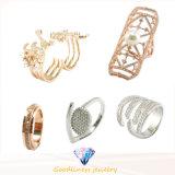 贅沢な宝石類925の純銀製はAAAのめっきされたローズの金の白い金の約束指リングと結婚している立方ジルコニアの真珠の女性を満たした(R10549)