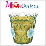Plantador decorativo do metal com preço de fábrica oco da cesta