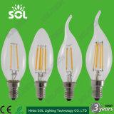 Claro vidrio o de cristal lechoso C35 C35ta 2W 3W 4W E14 LED de la lámpara de filamento de la vela