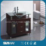 流しが付いている純木の浴室の家具を立てる床