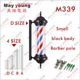 M339 Black Body Slim Stripes Rotating Lighting Barber Pole