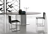Alta Tabella pranzante di vetro grigia della mobilia 3-Circle della casa di lucentezza (NK-DT245-1)