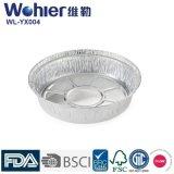 Envases de almacenaje de aluminio grabados plata del alimento, bandejas redondas de la hoja