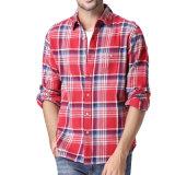 Camisa de algodón ocasional de la verificación de la franela de los hombres del diseño de la manera