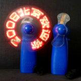 Azul mensaje personalizado mini portátil LED del ventilador del juguete con el logotipo Peinted (3509)