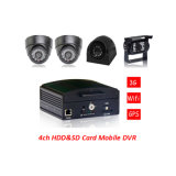 4CH H. 264 Full D1 HDD e cartão SD Mobile DVR GPS Vehicle
