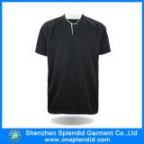 Teeshirt ordinaire noir d'hommes d'OEM de polyester du coton 50% de 50%