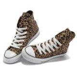 Elevado - baixo sapatas de lona impressas do leopardo do estilo do corte costume com cordões ocasional