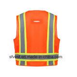 Elevado - veste da segurança de Refelective da visibilidade com engranzamento do poliéster