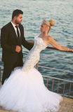 0083마리의 인어 끈이 없는 피닉스 패턴 Tulle 또는 공단 지면 길이 결혼 예복