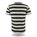 Custom Logo PrintedのV-Neck Stripe Plain Cotton T-Shirt