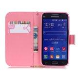Caja de drenaje coloreada impresión del teléfono celular de la carpeta del perro para Samsung G3608/G5308/Note 5/P8/S3/S4/S5/S6 con la cuerda