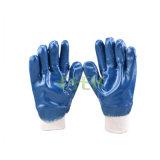 Poignet entièrement enduit Jersey de Knit de nitriles rayant les gants lisses de fini