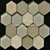 Mosaico de la pared de cerámica y de cristal del crujido hexagonal del hielo en 2016