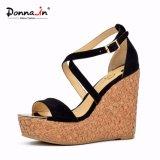 (Donna-em) sandálias da cunha da cortiça do laser das mulheres do salto elevado da camurça do miúdo da forma