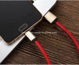 do carregador puro do fio de cobre de 1m cabo de dados do USB micro com couro do plutônio para o telefone esperto