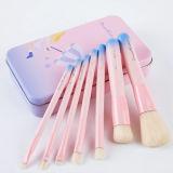 7PCS pinceaux de maquillage professionnels Set avec boîte en fer rose