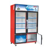 Un congelador vertical más grande de la puerta deslizante del volumen con dos temperaturas y armarios
