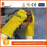 Ddsafety 2017 guantes reforzados amarillos de la seguridad del guante del soldador del cuero partido de la vaca