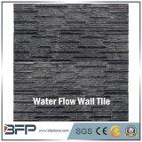 Mattonelle della parete del granito del nero di disegno della parete interna con la spaccatura ed il rivestimento lucidato
