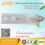 luz de calle solar del jardín 20W con la batería del panel solar, del regulador y de litio LiFePO4