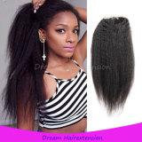 отбеленное закрытие 100% человеческих волос 8A перуанское Silk низкопробное завязывает Kinky прямые волос 4*4inch