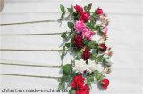 Fiore artificiale all'ingrosso della Rosa dei 3 delle teste vestiti del velluto per le cerimonie nuziali