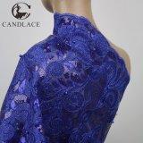 Het Franse Kant van koningsblauwen met Opeenvolging/Parels voor Dame Dress