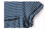 여름 동안 형식 파란과 백색 줄무늬 면 소년 옷 t-셔츠
