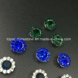 2017 nuevos Rhinestones 9m m cristalinos con las configuraciones de la garra del metal cosen en las piedras de lujo de los accesorios de los botones que cosen la alineada (el cristal redondo del azul de cielo de TP-9mm)