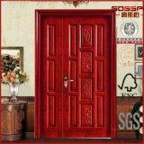 Portas exteriores antigas lisas da madeira contínua de entrada dianteira de portas dobro (GSP1-013)