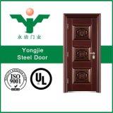 Porte extérieure en métal de couleur de qualité d'acier en bois de garantie