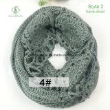 Aquecedor feito malha da garganta do lenço da infinidade de angorá do Crochet 2017 forma artificial