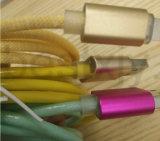 Cable de carga de siete de los colores dos LED de las luces de la tela de la armadura datos materiales del USB para el teléfono elegante