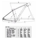 Frame rígido da bicicleta para MTB com material do carbono T800