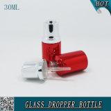 frasco de petróleo essencial de alumínio vermelho do frasco líquido cosmético do conta-gotas do soro da essência 30ml