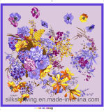 Écharpe en soie principale décorative carrée estampée par coutume de mode
