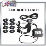 도매 공장 가격 4/6/8/12 깍지 Bluetooth RGB 소형 LED 바위 빛 2 인치 9W IP68는 도로 LED 바위 빛 장비 떨어져 RGB를 방수 처리한다