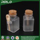 de Vierkante Cork van de Vorm 100ml 3.3oz Plastic Kosmetische Kruik van de Fles met de Houten Zoute Fles van het Bad van de Oppervlakte van de Steen van de Lepel Plastic met Cork