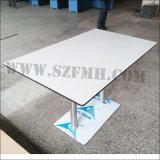 Phenoplastische HPL lamellenförmig angeordnete Tisch-Oberseite mit dem Firmenzeichen geschnitzt