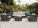 クッションのPEの藤の家具によってセットされる4 Piecessのテラスのソファー