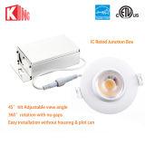 Ajustable COB blanco LED Gimbal Down Iluminación 8W con ETL