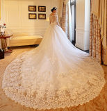De robe de mariage de train de chapelle de chemises d'Appliques d'amoureux demi (Dream-100090)