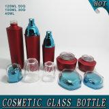 Estetica acrilica senz'aria rossa opaca della bottiglia di vetro del vaso della crema del muratore di Guangzhou che impacca con il coperchio e la paglia