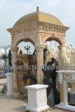 Gazebo de marbre en pierre de jardin avec le dessus de fer de bâti (GR034)