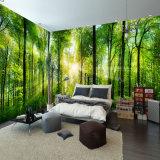 上海の工場カスタム安い高品質の非編まれた森林木製の景色の壁紙