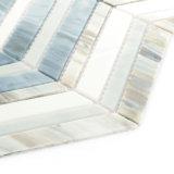Mosaico cinzento e branco Waterjet do vidro manchado da telha da decoração do banheiro