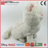 Chat réaliste de blanc de peluche de jouet de peluche